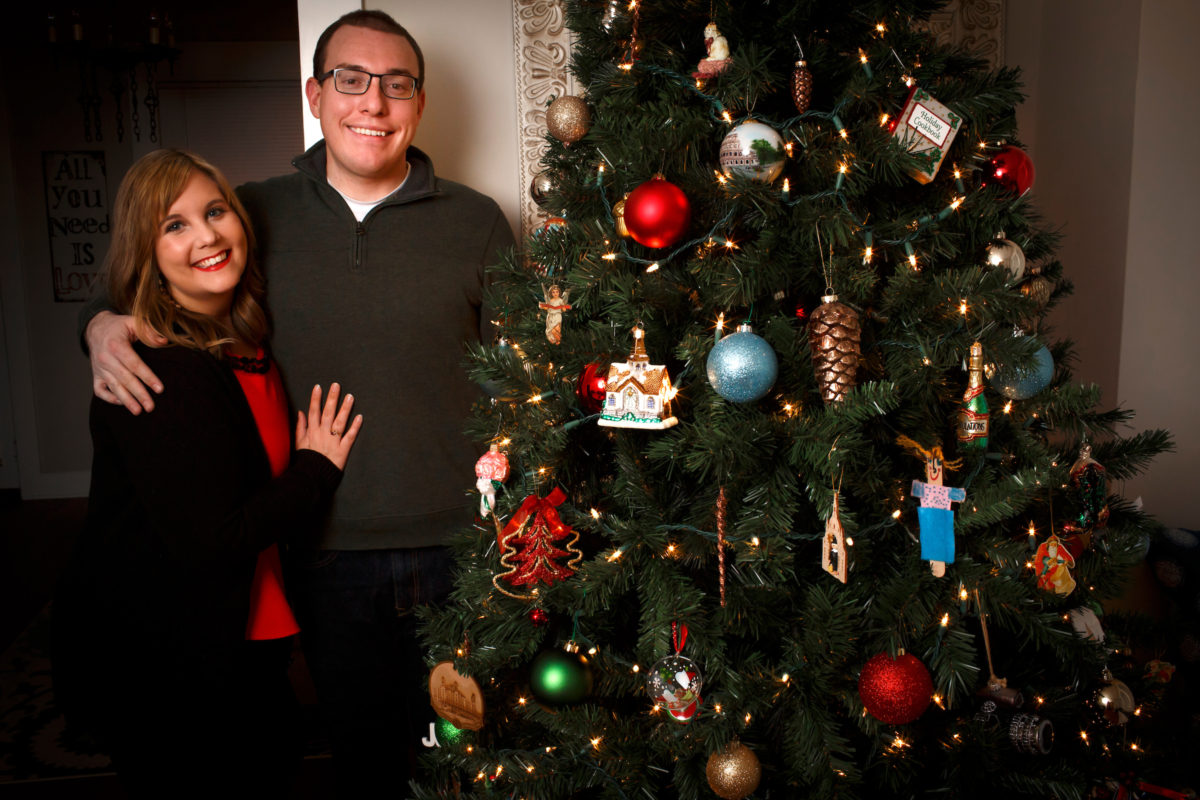 Barbara and James Brosher pose for a Christmas card photo on Sunday, Dec. 4, 2016, in Bloomington, Indiana. (Photo by James Brosher)