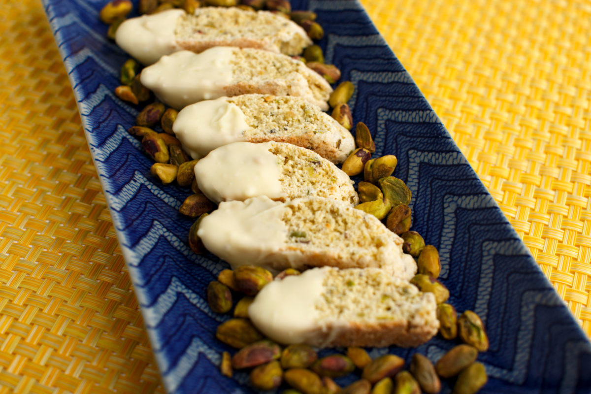 Lemon Pistachio Biscotti is pictured in Bloomington, Indiana on Sunday, Dec. 10, 2017. (Photo by James Brosher)