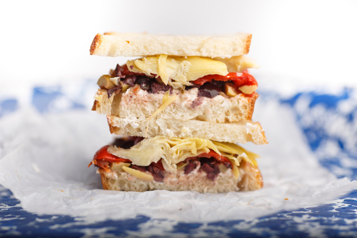 A muffuletta sandwich is pictured in studio in Bloomington, Indiana on Saturday, Aug. 18, 2018. (Photo by James Brosher)