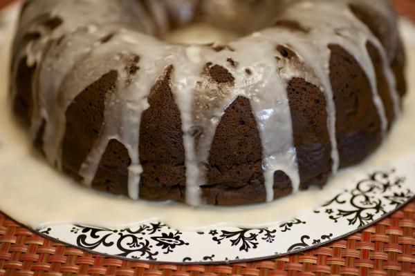 Double Chocolate Bundt Cake with Pumpkin Ale Glaze