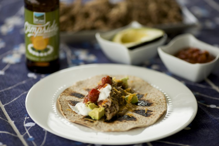 Pork Carnitas Tacos cooked in an Upland Campside Session IPA beer are seen on Wednesday, April 6, 2016, in Bloomington, Indiana. (Photo by James Brosher)
