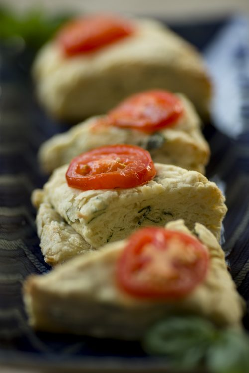 Tomato basil scones are seen on Wednesday, June 22, 2016, in Bloomington, Indiana. (Photo by James Brosher)