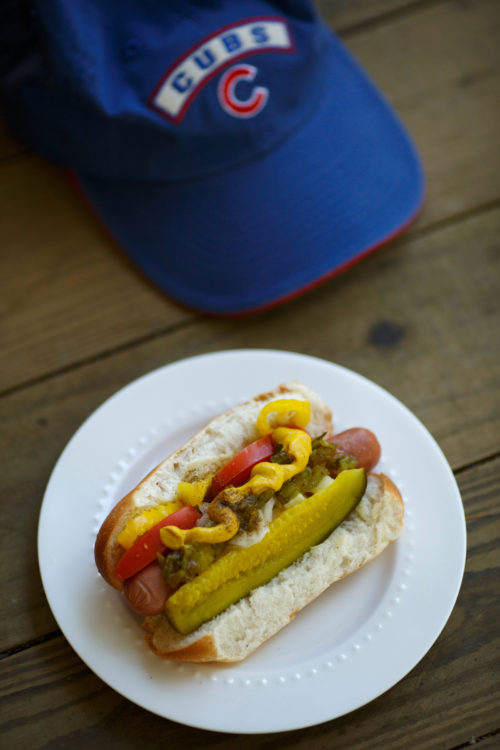 A Chicago-style hot dog is pictured on Friday, Oct. 28, 2016, in Bloomington, Indiana. (Photo by James Brosher)
