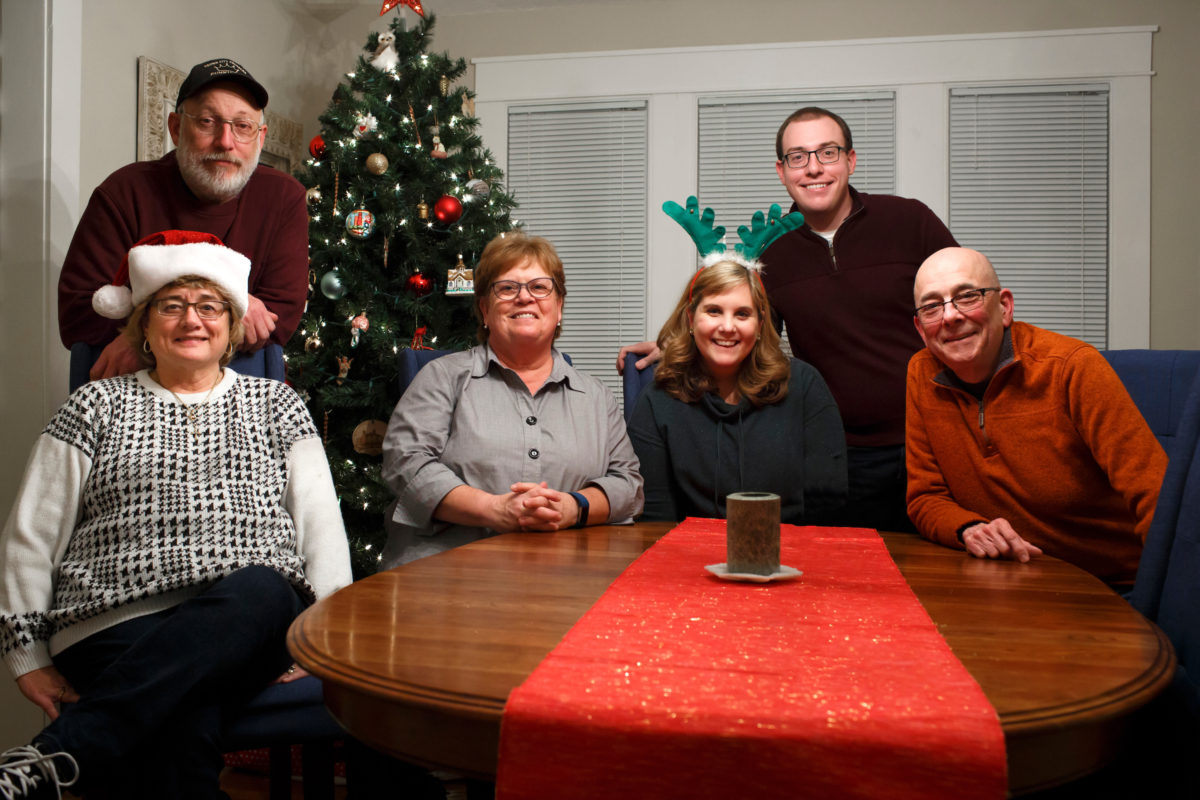 From left: Georgia Brosher, Tom Brosher, Susan Harrington, Barbara Brosher, James Brosher and Michael Harrington pose for Christmas Eve group photo on Saturday, Dec. 24, 2016, in Bloomington, Indiana. (Photo by James Brosher)