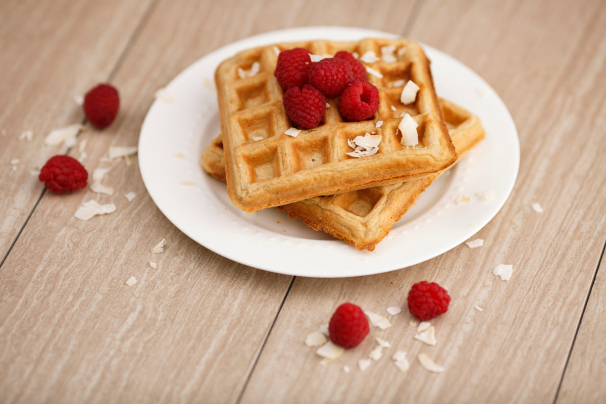 Whole wheat waffles are pictured on Monday, Feb. 27, 2017, in Bloomington, Indiana. (Photo by James Brosher)