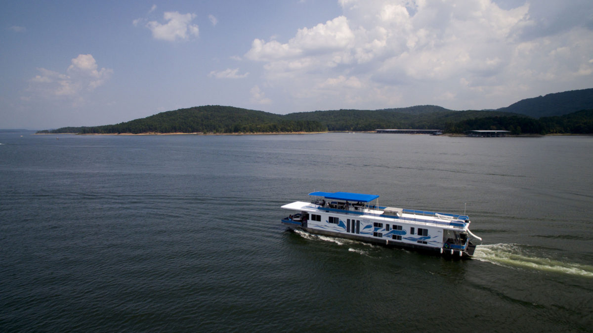 A DreamChaser houseboat is pictured on Lake Ouachita, Arkansas on Monday, Sept. 4, 2017. (Photo by James Brosher)