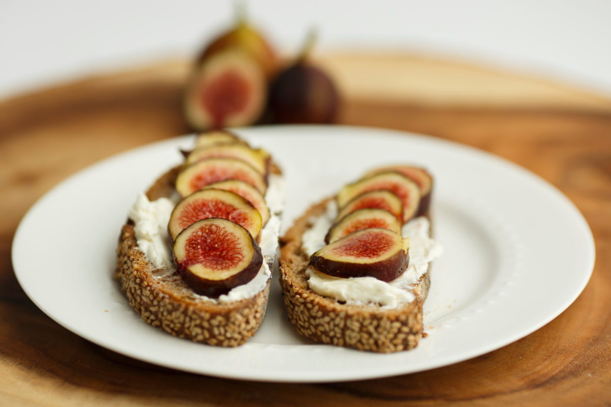 Fig and ricotta toast is pictured in Bloomington, Indiana on Sunday, Sept. 24, 2017. (Photo by James Brosher)